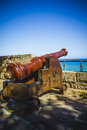 Protection, Spanish cannon pointing out to sea fortress Royalty Free Stock Photo