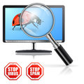 Protection from viruses and spam concept with magnifying glass over the monitor bug signs Stock Images