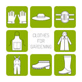 Protective clothing for working in the garden. Flat icons, objects of work clothing. Illustration