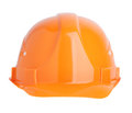 Protective construction helmet orange on a white background Royalty Free Stock Photography