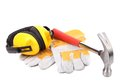 Protective ear muffs hammer and gloves Royalty Free Stock Photo