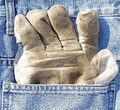 Protective glove jeans pocket Royalty Free Stock Image