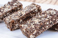 Protein bars high energy oats and chocolate Stock Photo