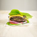 Protein burger wrapped in lettuce double shot with selective focus and copyspace composition Stock Photo