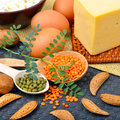 Protein food, eggs, almonds, lentils, cheese, walnut, and curd Royalty Free Stock Photo