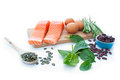 Protein rich foods including eggs spinach leaves kidney beans Royalty Free Stock Photography
