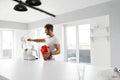 Protein Shake. Man Preparing Sports Drink Before Workout. Royalty Free Stock Photo