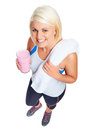 Protein shake woman gym drinking strawberry flavor Stock Image