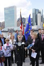Protest against crimea s invasion meeting organized today on roosevelt island four freedoms park the russian of lead by us Royalty Free Stock Photo