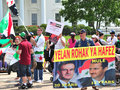 Protest crowd at the white house against taking military action on syria for use of chemical weapons on it s own people Stock Images