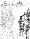 Protest hand drawn black and white illustration of people demonstrating and police forces Stock Photo