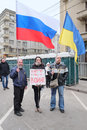 Protest manifestation moscow march of muscovites against war in ukraine and russia s support of separatism in the crimea circular Stock Photo