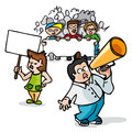 Protest march cartoons about a guy with a megaphone at a Royalty Free Stock Images