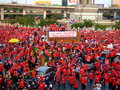 Protest rally in Thailand victory monument Stock Image
