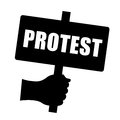 Protest sign isolated on white Royalty Free Stock Photo