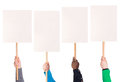 Protest signs in hands Royalty Free Stock Photo