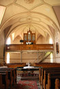 Protestant church interior of a reformed in small village Stock Images