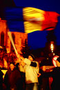 Protestant with romanian flag Stock Photos
