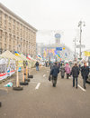 Protesters blocked the main street of kiev campsite ukraine dec mass protest in ukraine speech by president yanukovych is Royalty Free Stock Image