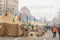 Protesters blocked the main street of kiev campsite ukraine dec mass protest in ukraine supporters european integration have Royalty Free Stock Images