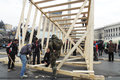 Protesters are building monument kyiv ukraine march on independence square in memory of killed activists Stock Photos