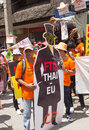 Protesters gathered fta negotiations between thailand and the eu chiangmai september unidentified crowd while with for a free Royalty Free Stock Photos