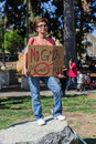 Protesters rallied in the streets against the monsanto corporation los angeles oct company is accused of genetically modifying Stock Photo