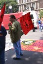 Protesters with red flags mexico city sep leftist demonstration mexico city Stock Images