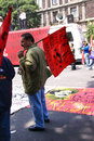 Protesters with red flags mexico city sep leftist demonstration mexico city Stock Photography