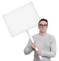 Protesting person with picket sign Royalty Free Stock Photo