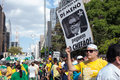 Protests against brazilian president sao paulo brazil august people on paulista avenue protesting corruption and presidente dilma Royalty Free Stock Images