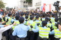Protests against hksar policy address budget forums the at hong kong Royalty Free Stock Photos