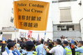Protests against hksar policy address budget forums the at hong kong Royalty Free Stock Photography