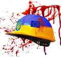 Protests in kiev ukraine helmet Stock Image