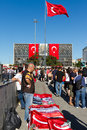 Protests in turkey people make silent protest taksim on june istanbul after evacuation and occupation gezi park by police people Royalty Free Stock Photography