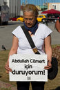 Protests in turkey woman makes silent protest taksim on june istanbul after evacuation and occupation gezi park by police people Royalty Free Stock Photos