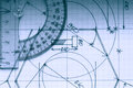 Protractor On Graph Royalty Free Stock Photo