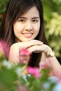 Protrait yong girl in the outside close up Royalty Free Stock Photos