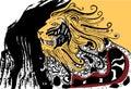 Proud angry lion. Aztec lion. Decorative lion.