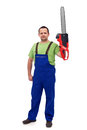 Proud construction worker with chainsaw holding isolated Royalty Free Stock Photography