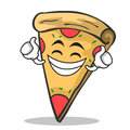 Proud face pizza character cartoon