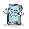 Proud face smartphone cartoon character