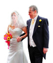 Proud father and bride having his hand squeezed by beautiful in white Stock Photo