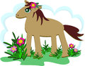 Proud horse in a flower garden here is strong Royalty Free Stock Photos