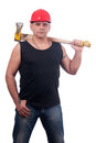 Proud lumberjack posing with ax on his shoulder Stock Photography