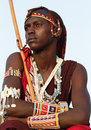 Proud maasai warrior in loitoktok kenya with traditional headdress and necklace Stock Image