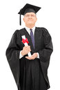Proud mature student holding his diploma proudly isolated on white background Royalty Free Stock Images