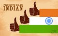 Proud to be an indian illustration of hand in india tricolor showing Stock Photography
