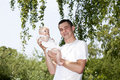 Proud young father holding his baby girl Royalty Free Stock Photography