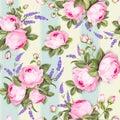 Provece lavender and pink roses floral wallpaper. Awesome design seamless pattern. Elegant rose pattern on blue tile